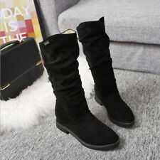 D114 New Fashion Women's Velvet Middle Heel Boots Lady's Suede Riding Warm Shoes