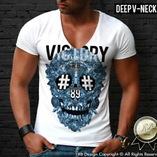 Designer Skull Shirt Deep V Neck Tshirt Scoop Neck Tee Luxury Festival Top MD454
