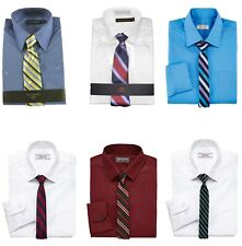 NWT Izod Boys'  Solid Dress Shirt & Striped Or Plaid Neck Tie Set