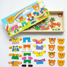 Kid Gift Infant Bear Change Clothes Puzzle Building Block Wooden Jigsaw Toy Fun