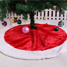 Round Snowman Santa Christmas Tree Skirt Stands Ornaments Home Party Decor Cute