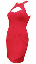 NWT NICOLE MILLER Coral Red Orange Silk Halter Neck Bandage Cut Out Dress $385