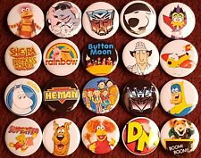 80's Classic Cartoon Button Badges. Pins. Collector. Bargain. 25mm in size. :0)