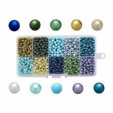 1 Box Ocean Pearlized Glass Beads Round Imitation Pearl Beads Pick Size 4~10mm