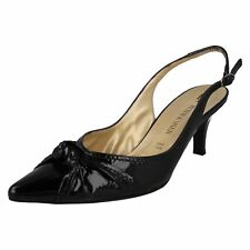 SALE WOMENS PETER KAISER BLACK PATENT POINTED TOE SLING BACK COURT SHOES AMBRA
