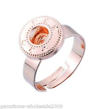 Wholesale Lots Adjustable Ring Fit Snap Mini Button Size 7 Rose Gold 17.3mm