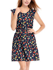 Allegra K Ladies Round Neck Dots Prints Above Knee Chiffon A Line Dress