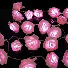 20 Pink LED String Rose Flower Fairy Lights Indoor Christmas Xmas Party Bedroom
