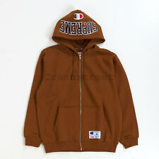 Supreme FW17 Champion Arc Logo Zip Up Sweatshirt hooded camp Logo box cap Brown