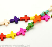 Wholesale Lots Mixed Turquoise Cross Loose Beads 16x12mm 39cm
