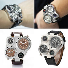 New OUlM 9415 Mens Military Army 2 Time Leather Band Sport Quartz Wrist Watch