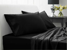1000 TC 100% Egyptian Cotton BLACK Solid AU Bedding Items & All Size