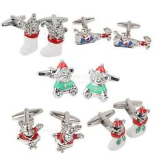 Christmas Ekl Wedding Party Gift Shirt Cufflinks Novelty Santa Clause Cuff links