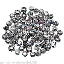 Wholesale Lots Silver Tone Rhinestone European Spacer Beads 10x6mm-11x11mm