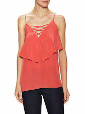 NWT BAILEY 44 Poppy Red Silk Layered Gathered Overlay Cut Out Top Blouse $168