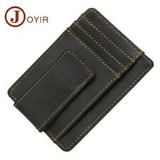 Real Leather Ultra Thin ID Credit Card Holder Mens Magnetic Money Clip Wallet