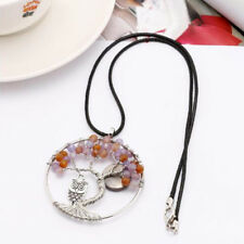 1 Pair Tree Of Life Chakra Necklace Quartz Purple Crystal Natural Necklace