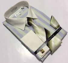 Men's Karl Knox Lt.Green French Cuff Dress Shirt Necktie Hanky Cufflinks Set NEW