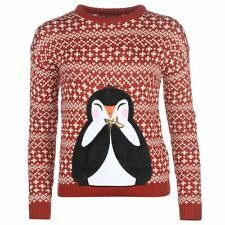 WOMENS RED STAR PENGUIN NOVELTY 3D XMAS CHRISTMAS KNIT KNITTED JUMPER