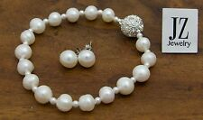 Freshwater Cultured Pearl Bracelet with Japanese Pearl Beads & Rhinestone Clasp