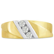 14K TWO-TONE GOLD 1/4CT DIAMOND MEN'S  RING  - ALSO AVAILABLE IN 10K GOLD