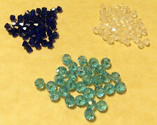 4 mm Blue or Clear -50 Pcs or Teal 4x6 mm -30 Pcs ~ Faceted Bicone Crystal Beads