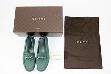 BRAND NEW W BOX Gucci Green Rubber Horsebit Loafer Driving Driver Shoes sz 9