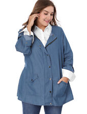 Women Plus Size Roll-up Long Sleeve Snap Button Closed Denim Jacket
