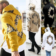 Men Hoodie Sweatshirt Hooded Pullover Jumper Warm Hoody Floral Jacket Tops Coat