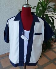 Handmade 1950's Style Retro Mens Rockabilly Bowling Shirt Dark  Blue  & Cream