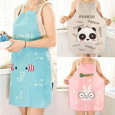 Nice!! Women Cute Cartoon Waterproof Apron Kitchen Restaurant Cooking Bib Aprons