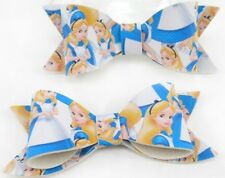 ALICE IN WONDERLAND Synthetic Leather Look Hair Bows Clip Disney Pattern
