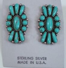 NATIVE AMERICAN STERLING AND TURQUOISE PIERCED EARRINGS