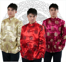 Traditional Chinese Silk Men's Birthday Coat  Party Jacket Tops S M L XL XXL 3XL