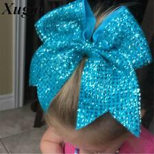8'' Girls Handmade Fashion Sequin Cheer Bow Solid Bling
