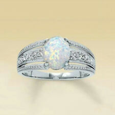 2.3Ct White Fire Opal Ring 925 Silver Women Wedding Propose Jewelry Size 6-10