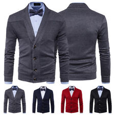 Spring Mens Slim Fit V-Neck Long Sleeve Cardigan Knit Sweater Button Front Coat
