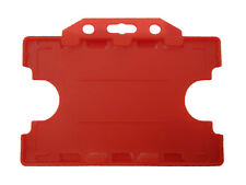 Red Double Sided ID Staff Pass Card Holder Landscape Dual Badge Plastic PVC