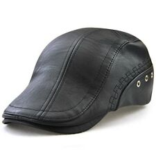 Winter Outdoor Faux Cow Leather Newsboy Cap Patchwork Cabby Dad Hat for Men g