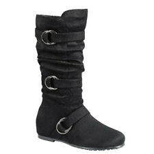 Contemporary New Women's Black Multi-Straps Mid Calf Flat Heel Slouchy Boots