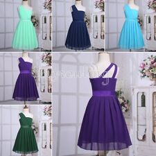 New Flower Kids Girl Pleated Chiffon One-shoulder Dress Princess Pageant Wedding