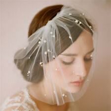 Bridal Ivory Tulle Pearl Wedding Bridal Birdcage Face Cover Prom Veil-NEW