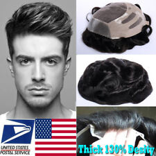 Man Toupee Wig Hairpiece Replacement System Virgin Human Hair Swiss Lace US F504