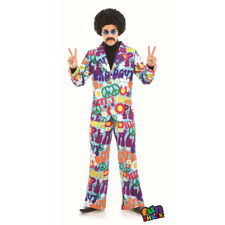 Mens Groovy Hippy Suit Fancy Dress Costume Hippie 1970s Outfit