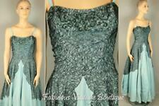 Vtg 50s Rockabilly Beaded Lace Full Skirt Gown Cocktail Party Prom Cupcake Dress