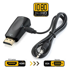 Gold-Plated HDMI to VGA Converter Adapter Audio Video for PC,Laptop,DVD,Desktop