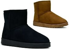 Ladies Boots Faux Suede Winter Warm Inner Pull On Ankle Boots UK Size 3-8