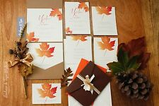 Autumn Leaf Pocketfold Wedding Invitations with Ribbon, Save The Date