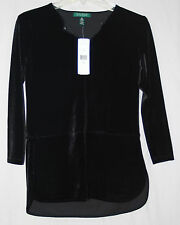 Lauren Ralph Lauren Womens NWT $90 Velour Velvet L/S Tunic Blouse, PS PM, Black