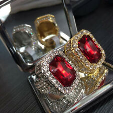 18K GOLD PLATED HIP HOP MEN SIMULATED LAB DIAMOND ICED OUT BLING RED RUBY RING